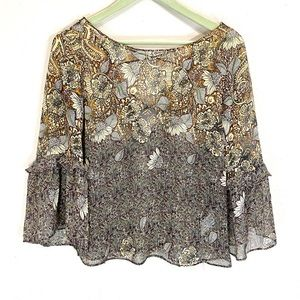 ZARA Light, Flowy Top with Ruffled Bell Sleeves